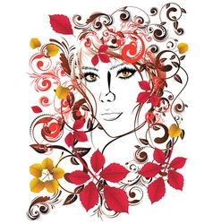 Autumn Girl with Floral15 vector image