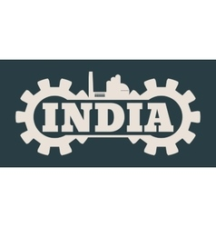 India word build in gear vector