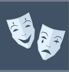 Mardi gras two masks with different emotions vector