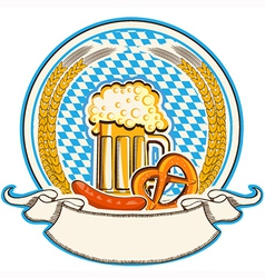 Oktoberfest label with beer and food bavaria flag vector