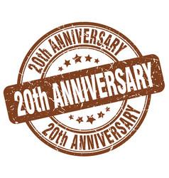 20th anniversary brown grunge stamp vector