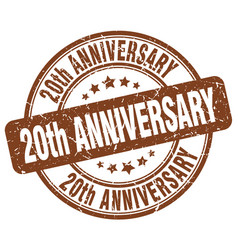 20th anniversary brown grunge stamp vector