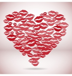 Heart shape made with print kisses vector