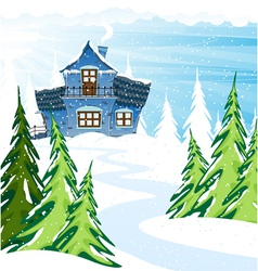 Blue house in a pine forest vector