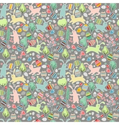 Seamless dark pattern with easter rabbits vector