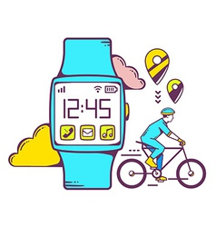 Blue smart watch with cyclist and cloud o vector
