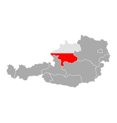Map of Austria with flag of Upper Austria vector image