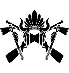 American indian headdress guns and tomahawks vector