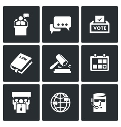 Presidential candidate and elections icons set vector