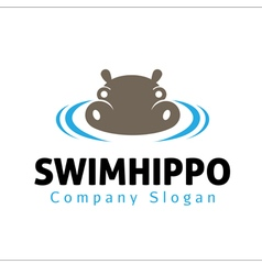 Swim hippo design vector