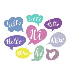 Speech bubbles with handwritten words hand drawn vector
