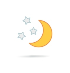 Moon and stars at night vector