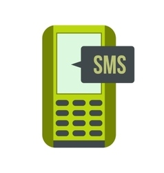 Mobile phone with sms message symbol flat icon vector