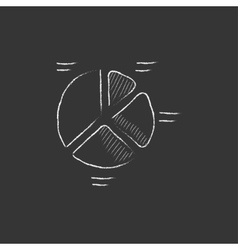 Pie chart drawn in chalk icon vector