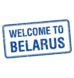 Welcome to belarus blue grunge square stamp vector