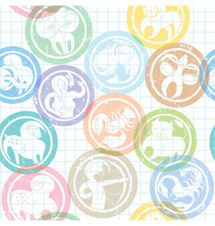 Zodiac sign stamps pattern vector