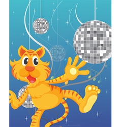 A tiger and the disco lights vector image