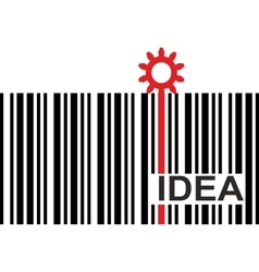 barcode with idea text and gear icon vector image vector image