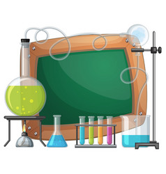 board template with chemical in beakers vector image