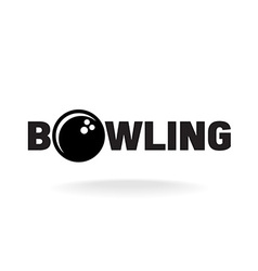 Bowling word logo with ball in o letter place vector