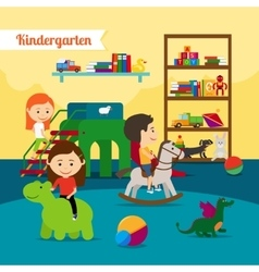 Children in kindergarten vector