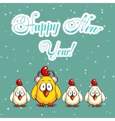 Christmas Card With Funny Chicks vector image