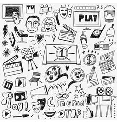 Cinema doodles set vector