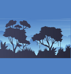 Collection stock forest landscape silhouette vector