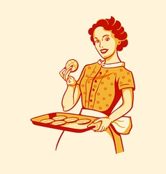 Cooking housewife vector image vector image