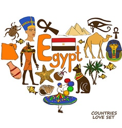 Egyptian symbols in heart shape concept vector image vector image