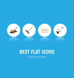 Flat icon garden set of harrow wooden barrier vector