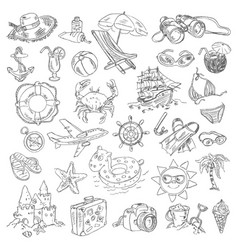 freehand drawing summer vacation vector image vector image