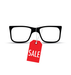 glasses with a sale tag vector image vector image