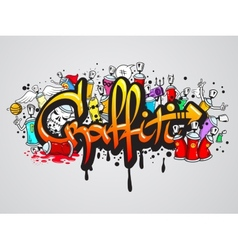 Graffiti characters composition print vector