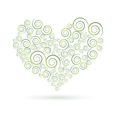 green swirls heart vector image