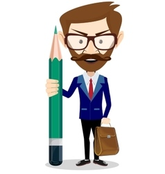 Handsome bearded businessman with green pencil vector