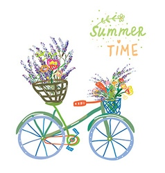 Happy summer time card with bicycle and flowers vector image