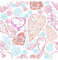 hearts and flowers seamless texture vector image vector image