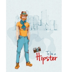 Hipster boy city vector image