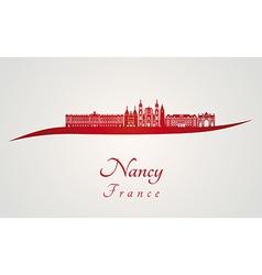 Nancy skyline in red vector image vector image