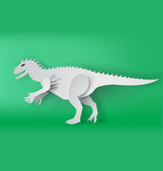 Paper art of indominous rex dinosour on green vector