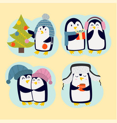 Penguin christmas character vector