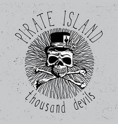pirate island vintage font poster vector image