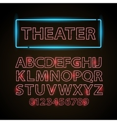 Red neon lamp letters font show cinema or vector