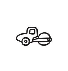 Road roller sketch icon vector