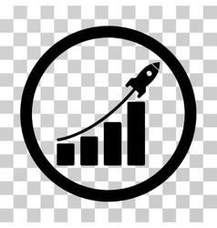 Rocket startup bar chart icon vector
