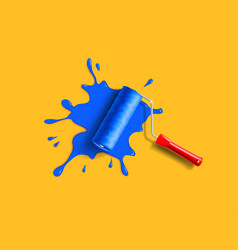 roller brush splash vector image vector image