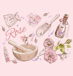 Rose natural cosmetic set vector