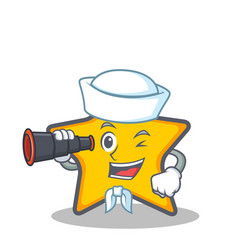 Sailor star character cartoon style with binocular vector