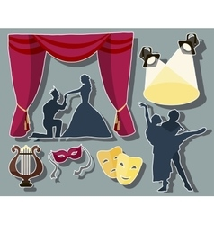 Set of theatre acting performance icons vector image vector image